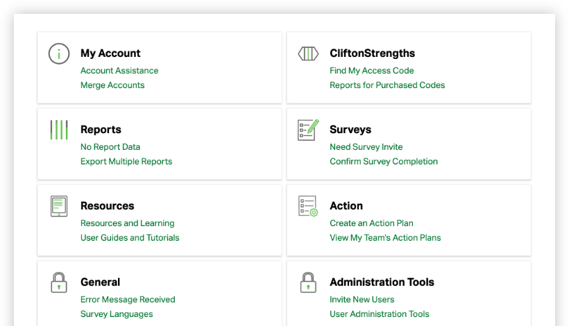 frequently asked question groups for reports, cliftonstrengths, surveys, action, and administration tools