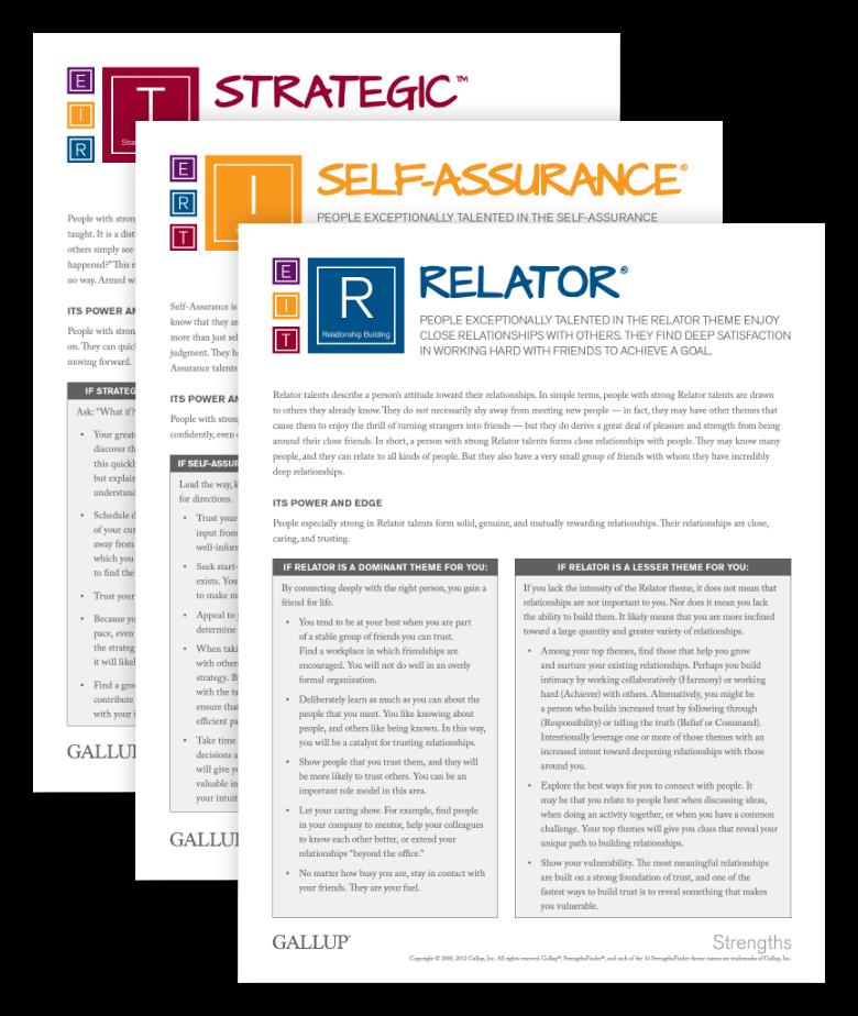 Screenshot of CliftonStrengths theme insights card