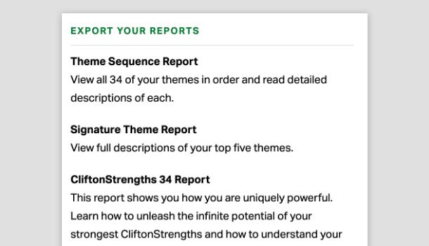 Screenshot of Gallup Access report export options