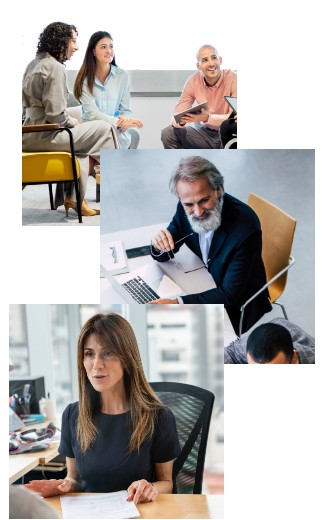 An image collage with three different workplace scenes, including a team at a table discussing engagement, a man interacting and smiling on a zoom call and a woman leading a discussion from her desk.