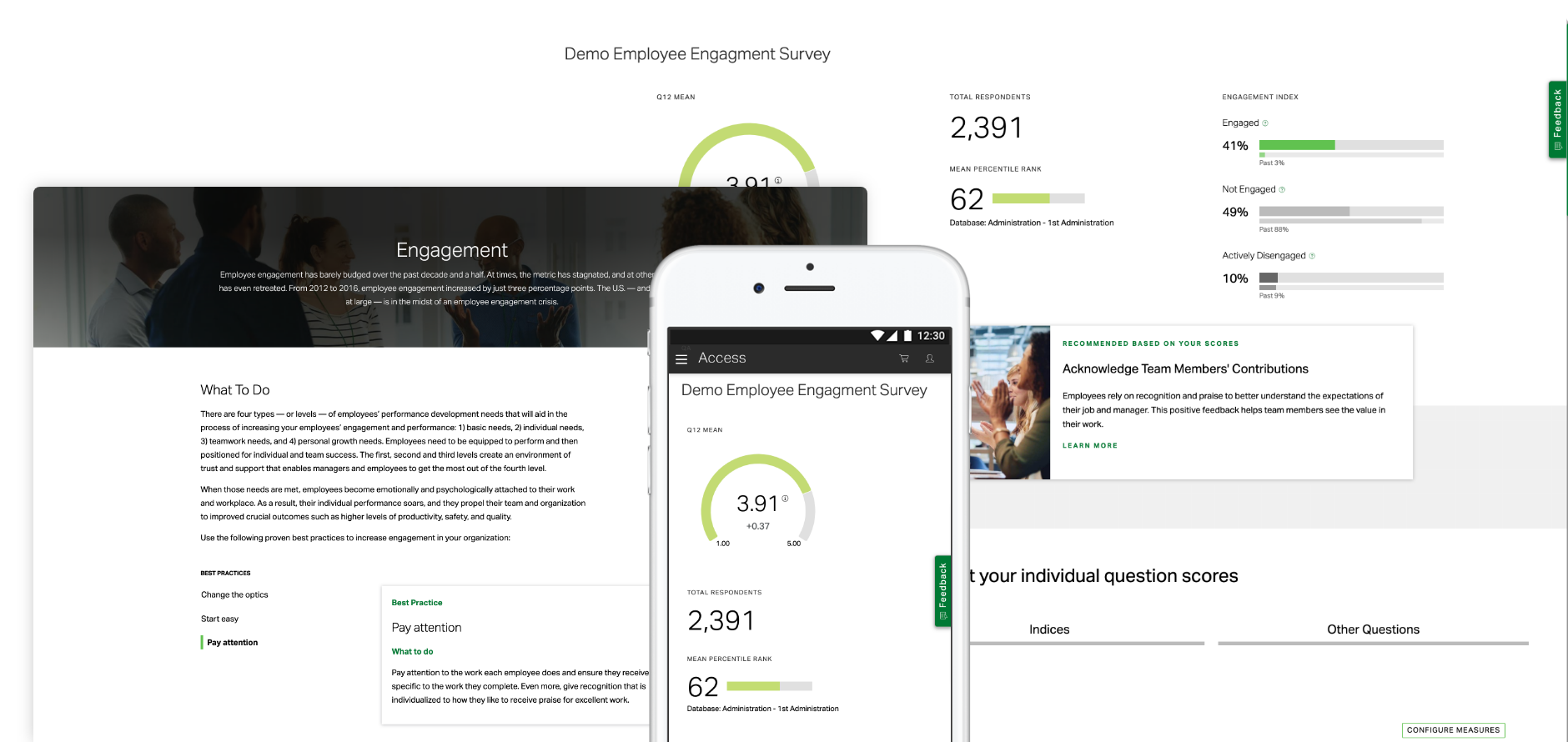 Group of screenshots including Q12 employee engagement learning module and employee engagement survey reports
