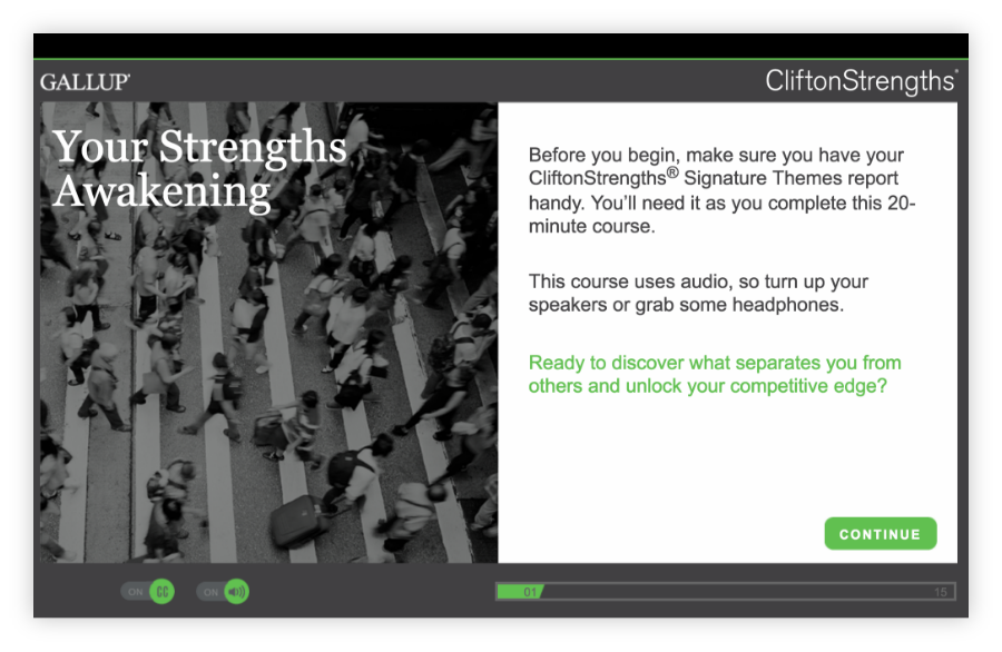 Screenshot of CliftonStrengths learning module