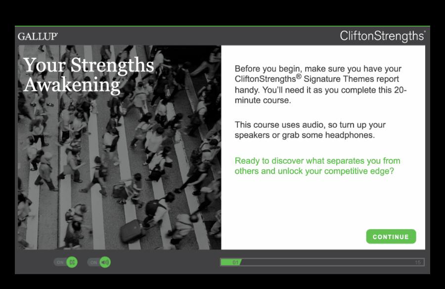 Screenshot of CliftonStrengths learning module