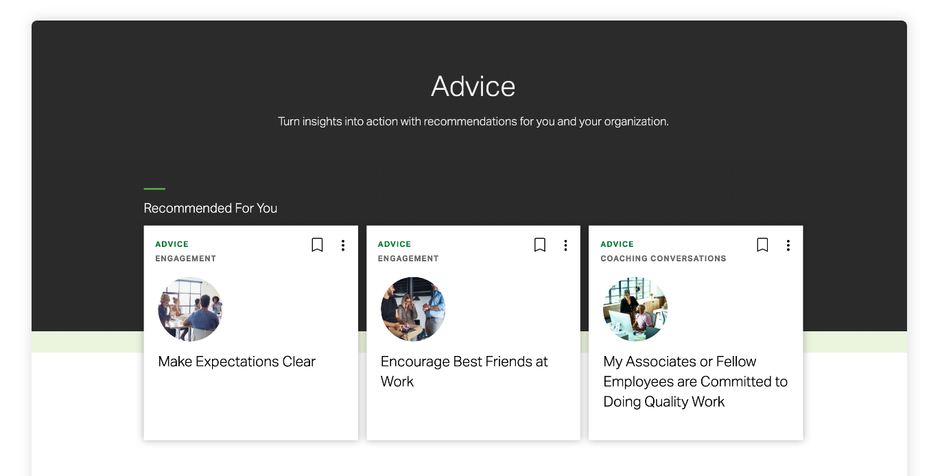 Screenshot of recommended management advice