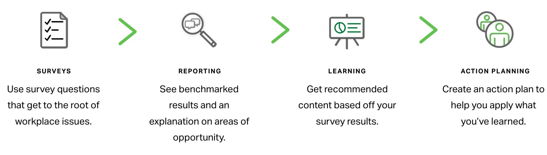 Find insights embedded throughout the survey, reporting and learning tools so you can apply what you learn on your action plan.