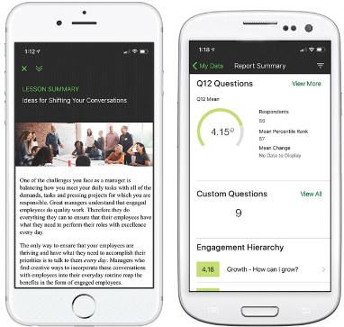 engagement learning manager module and Q12 employee engagement report on iphone