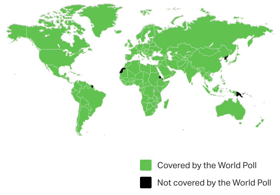 Image of our global reach with 99% of the world map covered by our nationally representative samples.