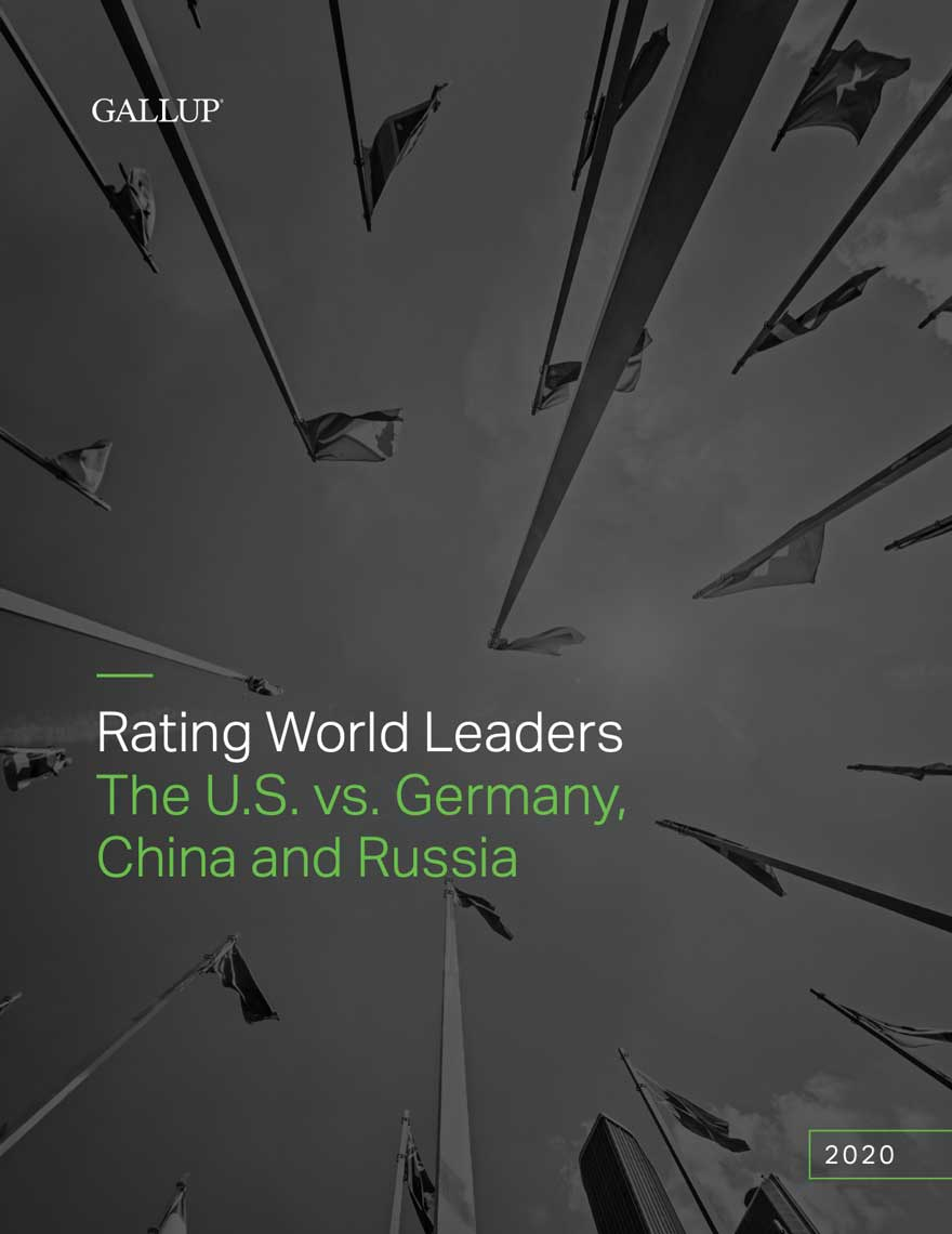 Various flags from various countries are on a black and white image background. The image is shot from the ground so that some flags appear upside down. Read the Rating World Leaders: The U.S. vs. Germany China, and Russia report from 2020 today.