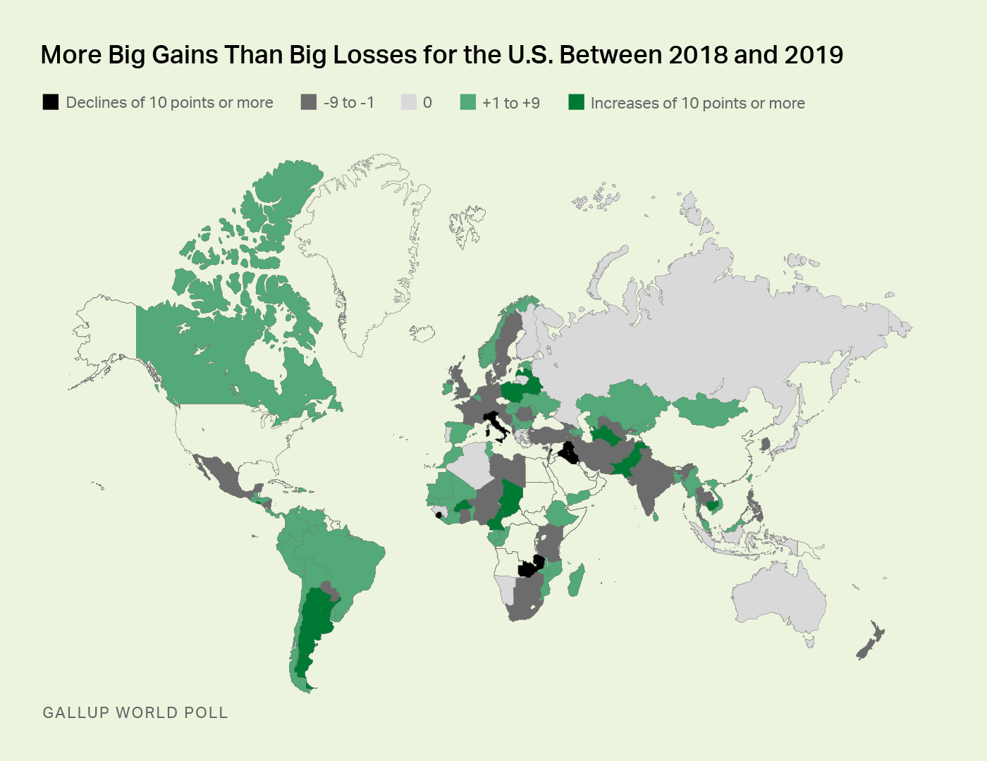Map showing countries and their losing or gaining of public favor compares to the previous year.