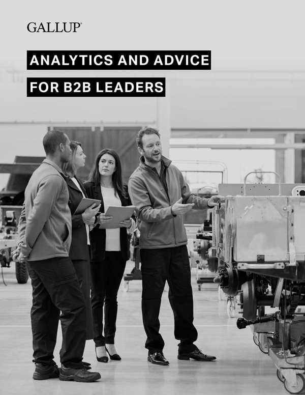 Report cover for Analytics and Advice for B2B Leaders featuring four business people discussing technical products.