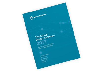 An image of the Global Findex 2017 cover which is teal with an overlay of connected dots.