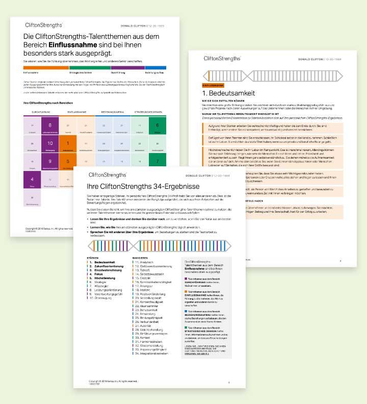 Beispielseiten aus dem CliftonStrengths 34-Bericht