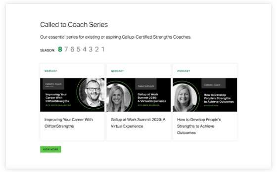 Screenshot of the Call to Coach Webinar series with three webinars showing.