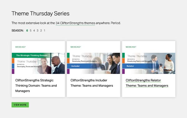 Screenshot of Themes Thursday webcast series with three webcasts showing.