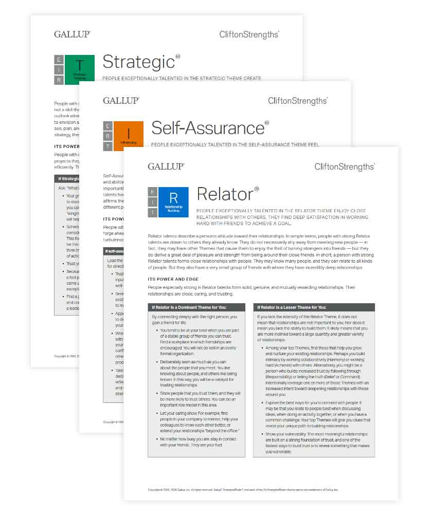 Screenshot of CliftonStrengths theme insights card