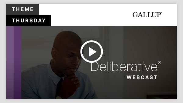 Play video about the Deliberative CliftonStrengths Theme