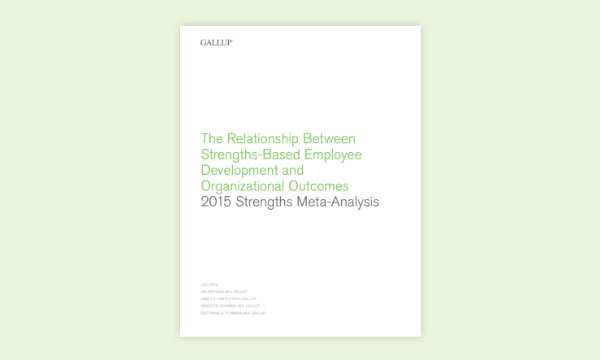 report cover for The Relationship Between Strengths-Based Employee Development and Organizational Outcomes