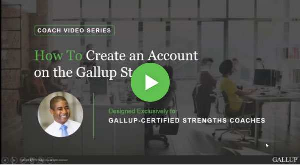 Button to play How to create an account on the Gallup Store video