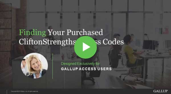 Button to play How to find your purchased CliftonStrengths codes video