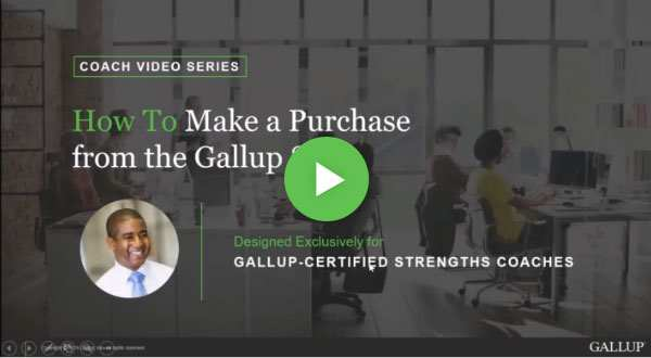 Button to play How to make a purchase from the Gallup Store video