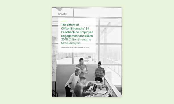 report cover for The Effect of CliftonStrengths 34 Feedback on Employee Engagement and Sales