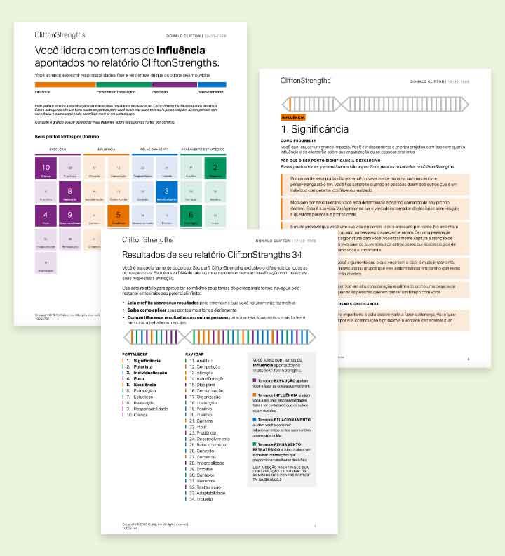 Páginas de exemplo do relatório CliftonStrengths 34