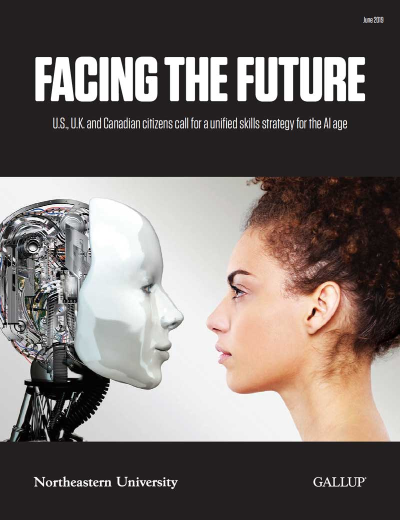 A woman is in side-profile and faces a robot on the cover of the report Facing the Future: U.S., U.K. and Canadian citizens call for a unified skills strategy for the AI age from Northeastern University and Gallup