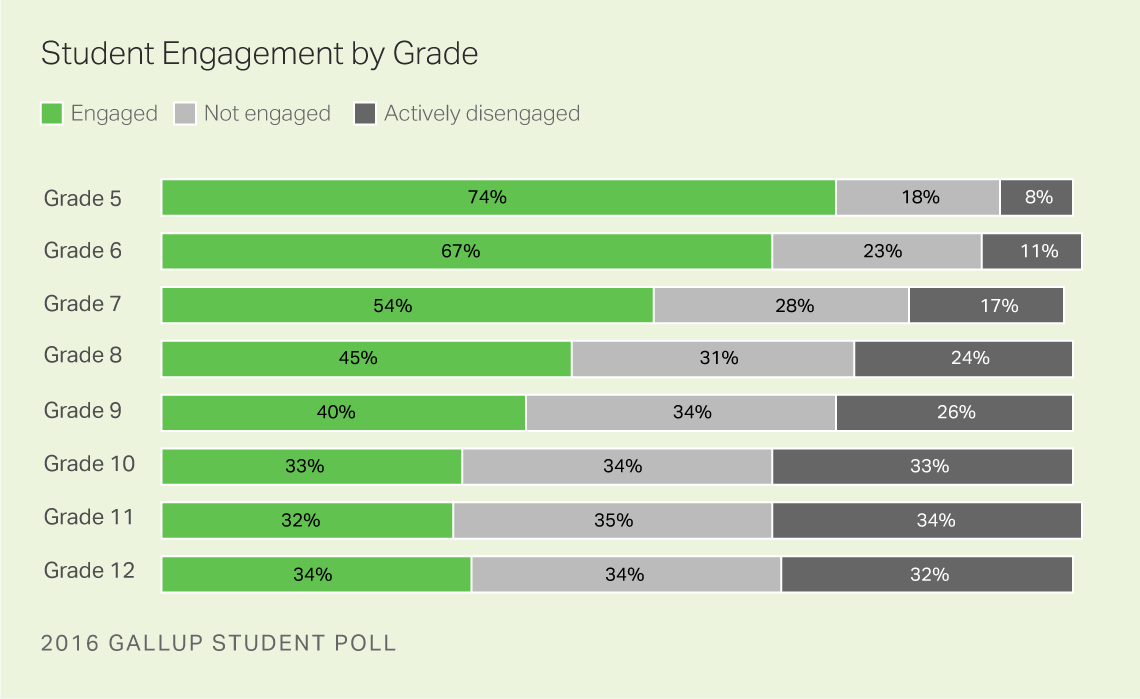 student engagement by grade level.