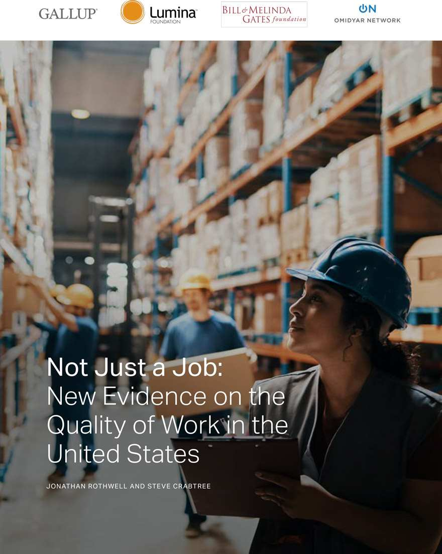 Report cover for Not Just a Job: New Evidence on the Quality of Work in the United States featuring a woman with a clipboard surveying shelves at a warehouse while other workers carry boxes.