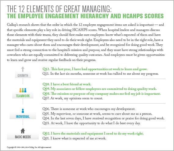 The 12 Elements of Great Managing: The Employee Engagement Hierarchy and HCAHPS Scores