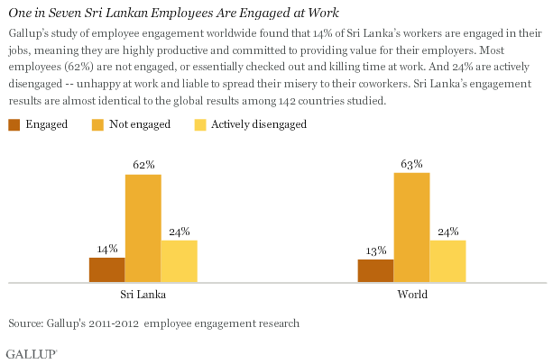 One in Seven Sri Lankan Employees Are Engaged at Work