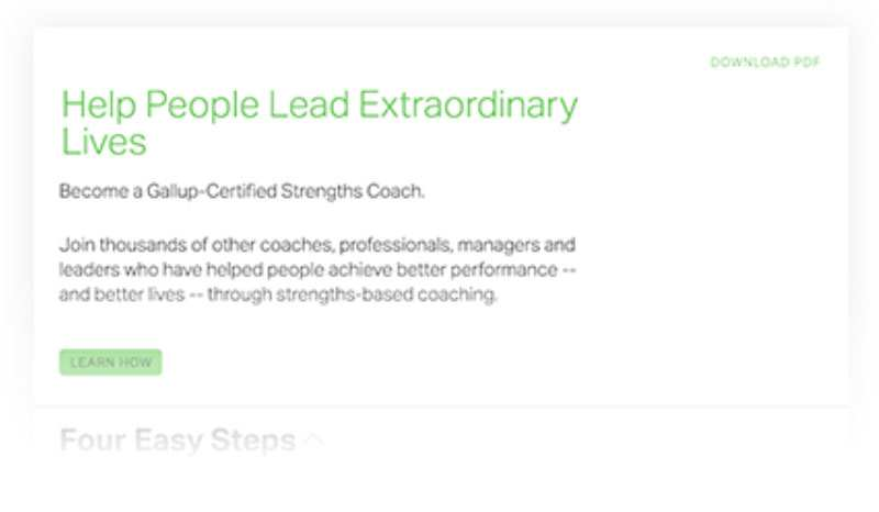 CliftonStrengths coaching guide that tells you how to become a Gallup-Certified strengths coach.