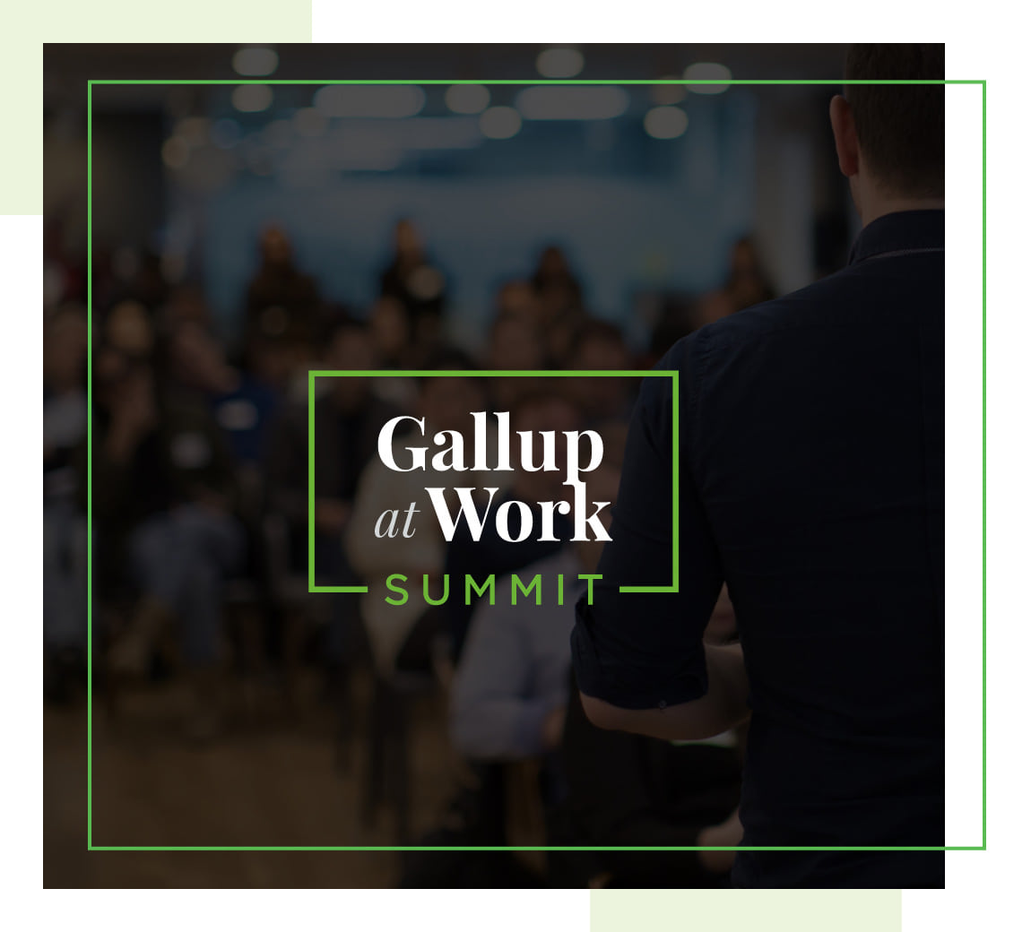 A woman on stage at the Gallup at Work Summit and two pictures of people enjoying the Summit.