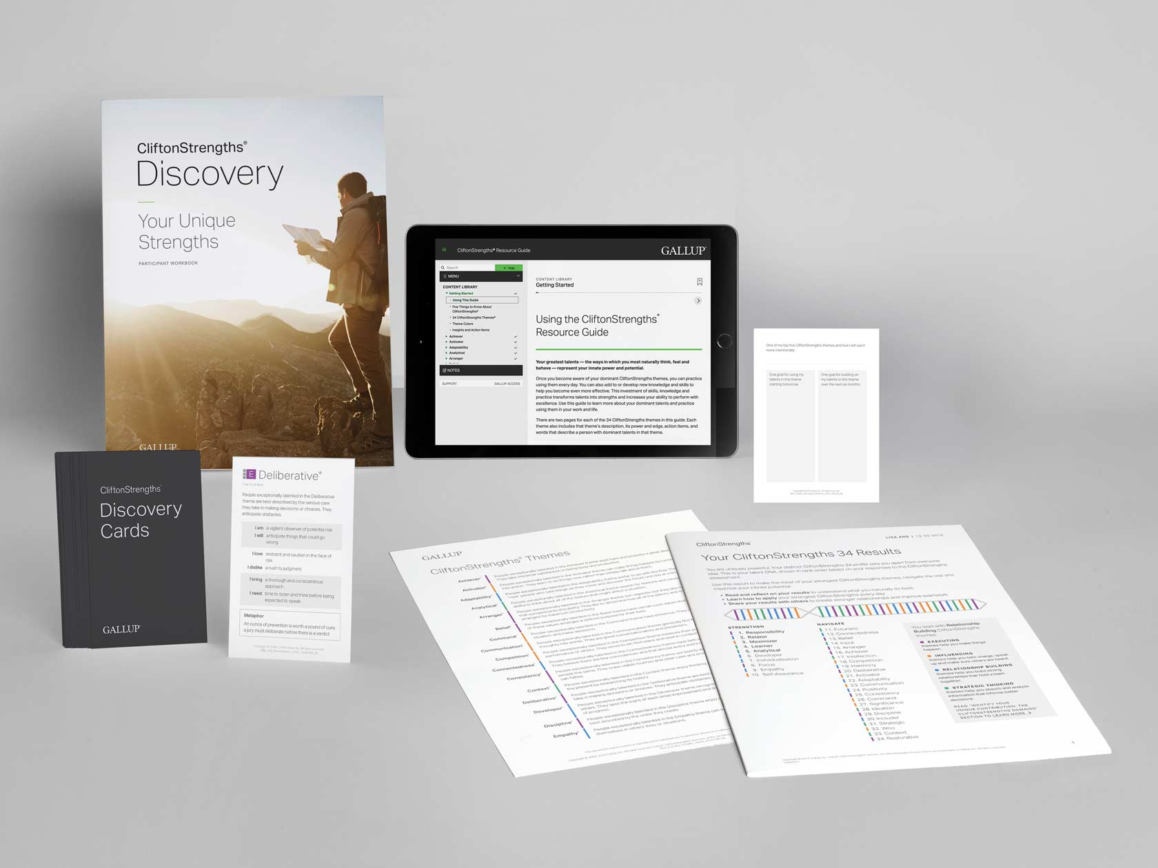 Materials included in the CliftonStrengths Discovery course.