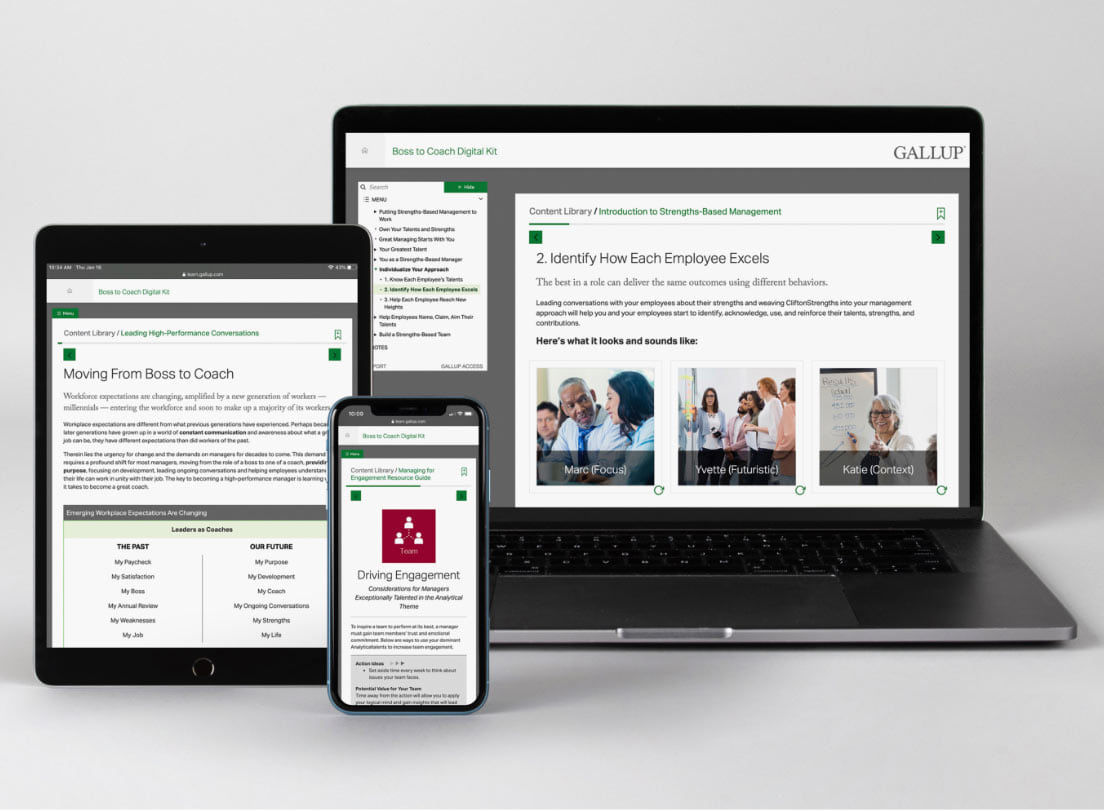 CliftonStrengths Coaching Starter Kit (Digital) on multiple devices.