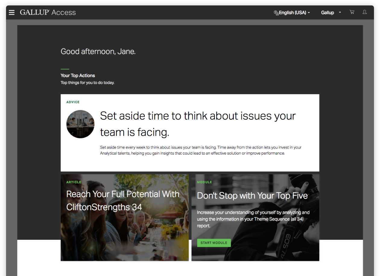 Preview of Gallup Access Platform