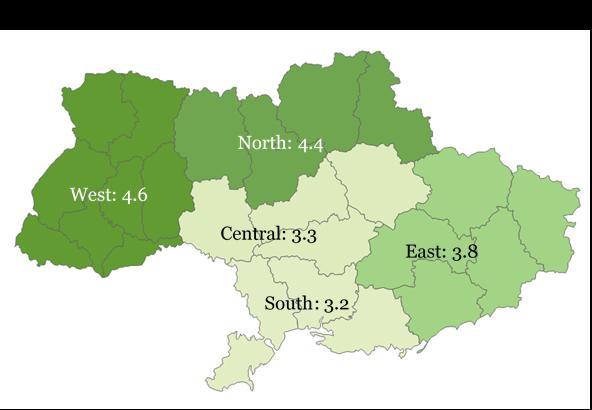 Výsledky průzkumu kvality života na Ukrajině za rok 2015 (mapa)