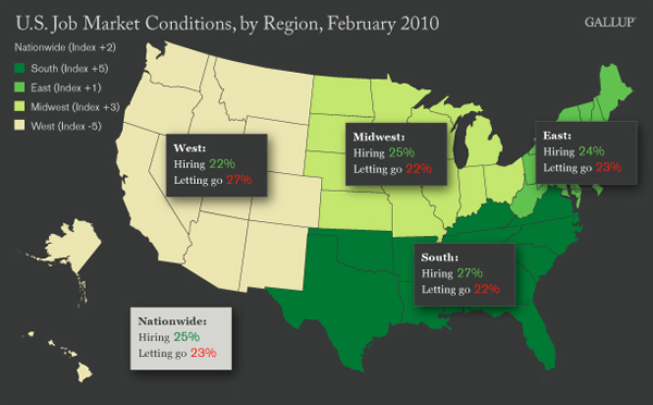 U.S. Job Market Conditions, by Region (Map), February 2010