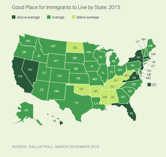 Good Place for Immigrants to Live, by State, 2015