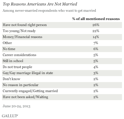 Top Reasons Americans Are Not Married, June 2013