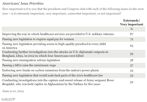 Americans' Issue Priorities, June 2014