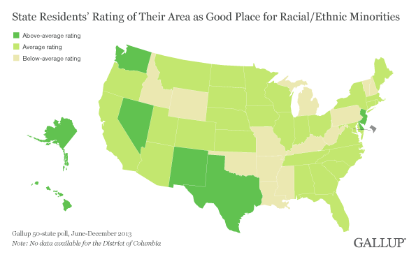 State Residents' Rating of Their Area as Good Place for Racial/Ethnic Minorities, June-December 2013