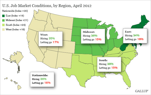 U.S. Job Market Conditions, by Region, April 2012
