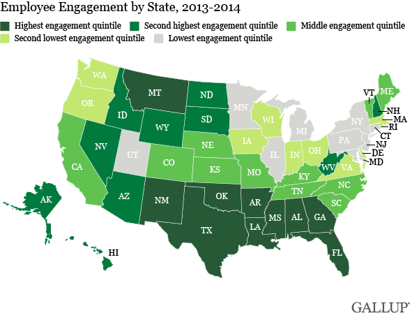 Employee Engagement by State, 2013-2014