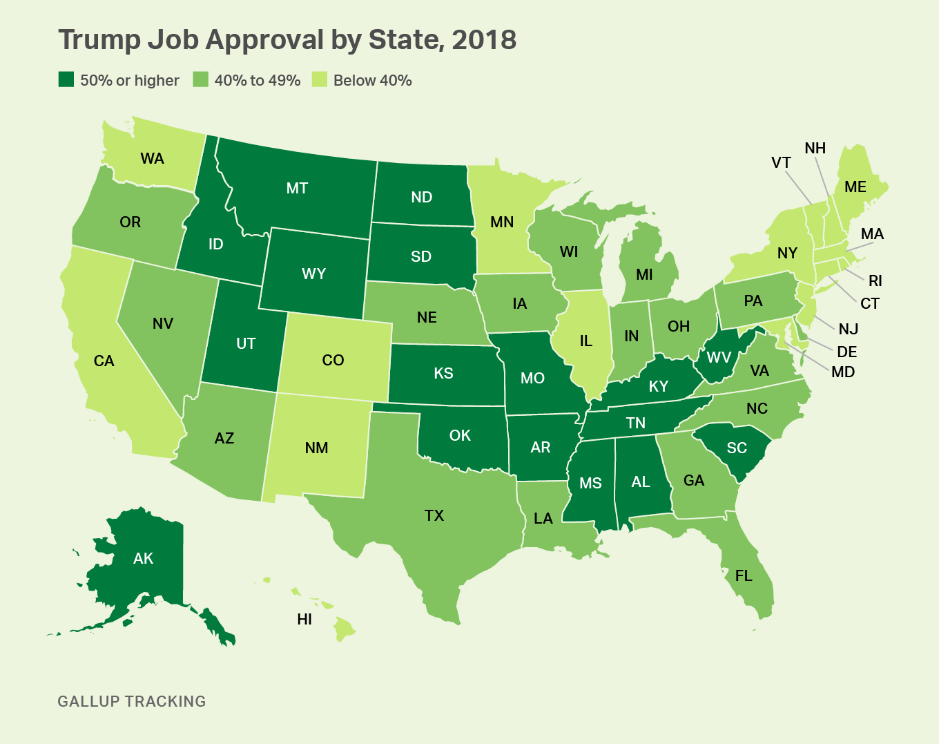 Map. President Trump Job Approval by State, 2018. Divided into 50%+ approval, 40%-49% approval, less than 40% approval.