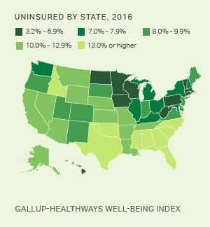 WellBeing Index Gallup Topic - Map of happiness by us states