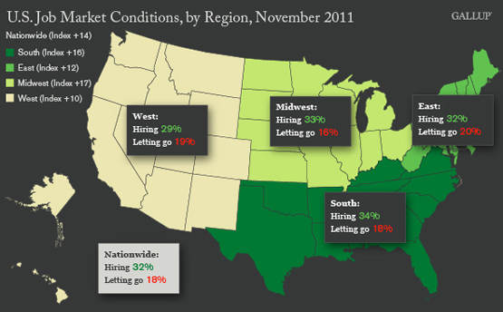 U.S. Job Market Conditions, by Region, November 2011