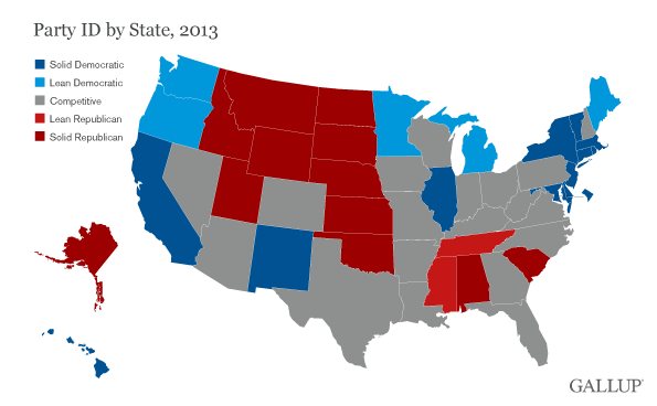 Not As Many US States Lean Democratic In - Us party map