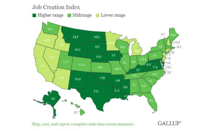 Job Creation Index - Map of the U.S.