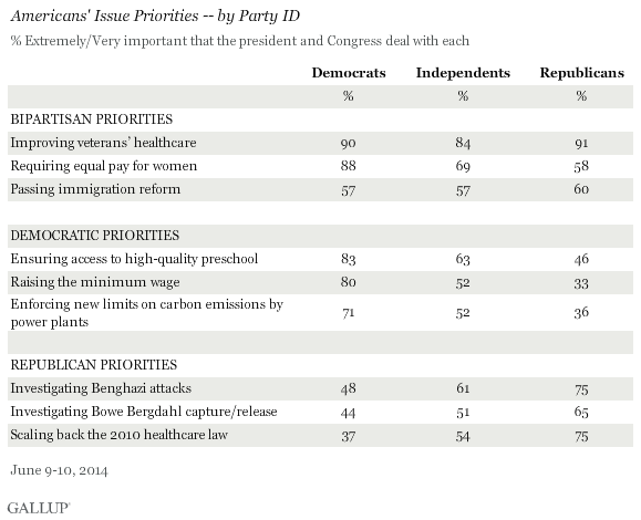 Americans' Issue Priorities -- by Party ID, June 2014